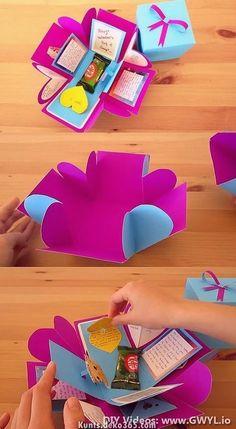 io, Diy Abschnitt, presents handmade gifts Diy Exploding Gift Box - Gwyl. Diy Gift Box, Diy Box, Gift Boxes, Easy Handmade Gifts, Diy Gifts, Food Gifts, Homemade Gifts, Easy Paper Crafts, Paper Crafting