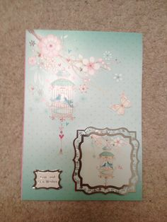 Bird cage Card made from hunkydory kit
