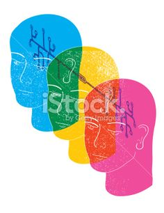 Transparent human heads with networking symbols Royalty Free Stock Vector Art Illustration