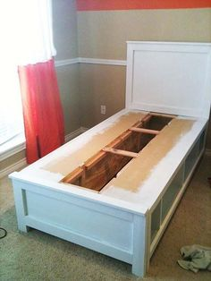 DIY Twin Bed With Storage. A creative storage idea to make shelves or cubbies instead of drawers under the bed. Perfect for small spaces. http://hative.com/creative-under-bed-storage-ideas-for-bedroom/