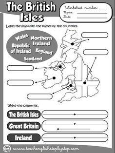 The British Isles - Worksheet (B & W version)
