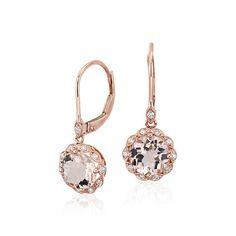 Morganite and Diamond Milgrain Halo Leverback Drop Earrings 14k Rose Gold (7mm), Women's, Diamond Rose Gold