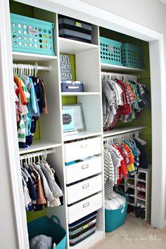 Baby boy nursery closet - DIY nursery decor - navy green gray - This is our Bliss