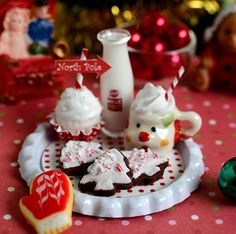Miniature Christmas Santa Snack Tray by CuteinMiniature on Etsy
