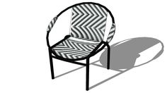 Large preview of 3D Model of armchair RIO black / white houses of the world, ref 129766 Price: 39 €