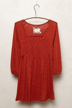 Anthropologie Deletta Smocked V-Neck Tee Top S Rust Orange 100% Cotton Ruched #Anthropologie #KnitTop #Casual