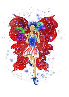 Patriotic Patsy www.teeliesfairygarden.com The fairy headquarters has assigned Patsy as the Fourth of July cheerleader. Come and let her bring the festive vibe to your home! #fairyfourthofjuly