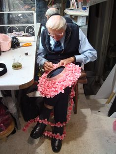 Milliner John Boyd finishing a floral brim www.johnboydhats.co.uk