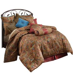 HiEnd Accents San Angelo Comforter Set - Designer western bedding. Vibrant paisley with red faux leather and turquoise velvet accents.