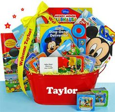 Mickey Mouse Club House Activity Themed Basket - Books, Puzzles, Multiple Games, Sidewalk Chalk, Bubbles, DVD - Colors: Primary
