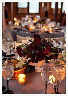 deep purple and mauve floral centerpieces :: Photography: Miho Aikawa Photography, second shooter, C.Bay Milin