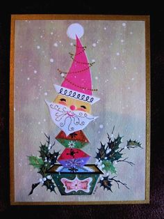 Vintage Christmas Card Mid Century Atomic Santa In Pink Centerpiece Gold designed by s. Yates for christmas gems