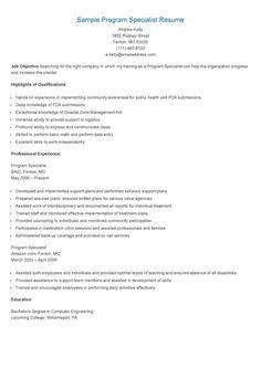 Beautiful Sample Program Specialist Resume