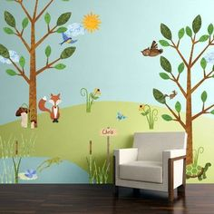 junge wandgestaltung My Wonderful Walls Forest Multi Peel and Stick Removable Wall Decals Woodland Critters Theme Wall Mural Jumbo Set) Forest Mural, Forest Theme, Woodland Theme, Woodland Forest, Nursery Wall Stickers, Wall Stickers Murals, Wall Murals, Wall Art, Forest Nursery