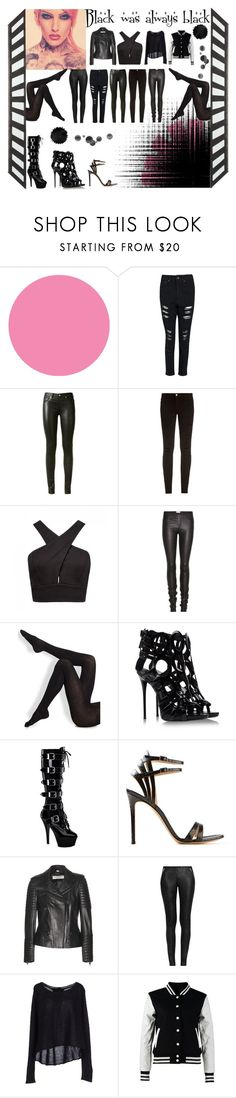 """""""Black was always black"""" by jaylouise ❤ liked on Polyvore featuring Jeffree Star, WallPops, Boohoo, Yves Saint Laurent, Frame Denim, Forever New, Helmut Lang, Wolford, Giuseppe Zanotti and Gianvito Rossi"""