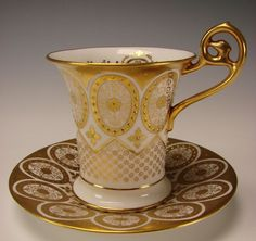 Antique Cauldon English Elegant Gilt China Porcelain Cup Saucer c1900 from hideandgokeep on Ruby Lane