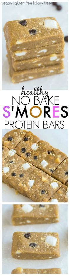 These soft and chewy no bake S'mores bars are PACKED full of protein and have no added sugar and taste like dessert, yet are SO healthy- The perfect snack or healthy treat recipe! {Vegan, gluten free + dairy free}
