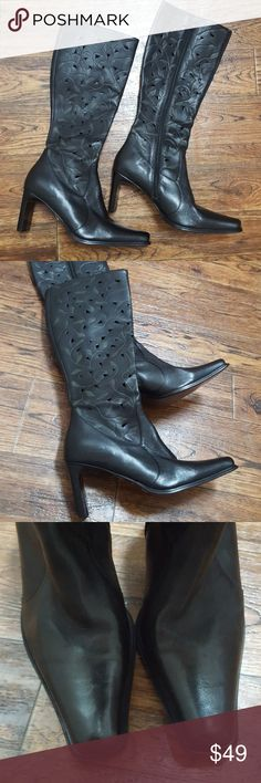 MIA Leather Cutout Design Boots Leaf embossed black leather knee high boots. Style is called Deacon. Western style square toe. Beautiful well made shoes. Mia Shoes Heeled Boots