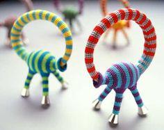 Felieke van der Leest stripey animal bracelet - collection of CODA Museum, Netherlands Textile Jewelry, Fabric Jewelry, Jewelry Crafts, Jewelry Art, Chesire Cat, Woven Bracelets, Bangles, Crochet Bracelet, Textiles