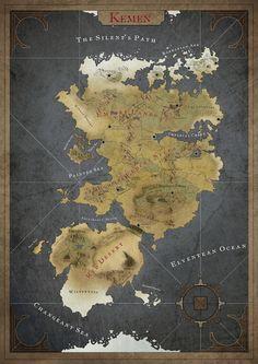 La carte du continent Kémen, monde Mirzam, système Sirius, galaxy inconnue