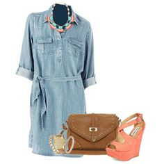 Chambray Outfit: Chambray Shirtdress, Wedge Sandals, Cross Body Bag, Fan Fringe Necklace, and Watch Bracelets.