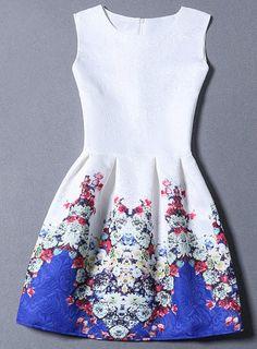 Floral Print Zippered Sleeveless Dress For Women