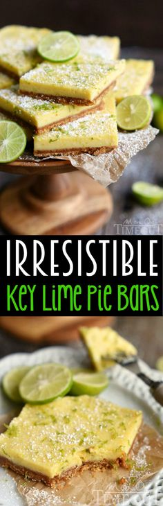 Irresistible Key Lime Pie Bars are just that - IRRESISTIBLE! Tart and sweet, this easy dessert is made with the perfect graham cracker crust and fresh key lime juice. Bound to become your new favorite dessert! // Mom On Timeout Easy Desserts, Delicious Desserts, Dessert Recipes, Yummy Food, Summer Desserts, Lime Recipes, Sweet Recipes, Key Lime Pie Bars, Key Lime Squares