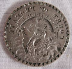 """ANTIQUE AMERICAN COIN SILVER SEAL,COURT OF PROBATE,PROVIDENCE, WM. HAMLIN,c.1800 #WilliamHamlin A N T I Q U E    A M E R I C A N    C O I N    S I L V E R    S E A L    O F    T H E    C O U R T    O F    P R O B A T E O F    T H E    C I T Y    O F    P R O V I D E N C E,    R.  I.  b y    WILLIAM HAMLIN            MIDDLETOWN, CT. &    PROVIDENCE, R.I. (1772-1869)  1 1/4"""" Diameter ;  19.70 grams  THE SEAL APPEARS WITH LADY JUSTICE FACING LEFT AND THE WORDs can be read"""