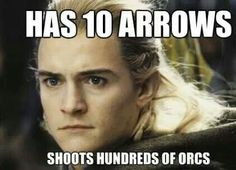 in the book he is always looking for more arrows cause he has spent all his...aw the irony,,what would tolkien think?