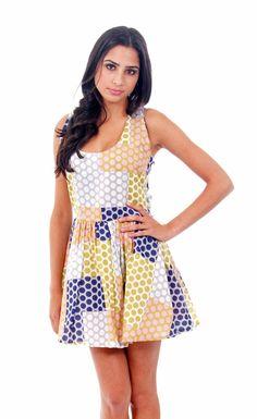 Mustard Open Back Polka Dot Dress