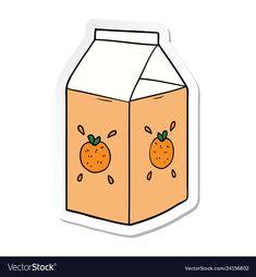 Sticker of a cartoon orange juice carton vector image on VectorStock Preppy Stickers, Food Stickers, Anime Stickers, Kawaii Stickers, Journal Stickers, Printable Stickers, Laptop Stickers, Cute Stickers, Orange Aesthetic