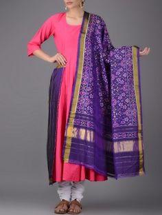 Purple-Multicolor Single Ikat Silk Dupatta