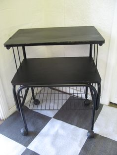 $20 Useful BLACK Storage TROLLEY TABLE 60x43x74cm Text 0411691171 or email info@bitspencer.com