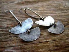 Tribal half disk earrings