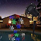 Waterproof 4 LEDs Snowflake Spotlight 4 Color Projector Light Moving Automatically Landscape Lighting for Christmas... christmas deals week