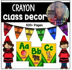 Crayon Themed Classroom Pack Crayon Themed Classroom, Preschool Classroom Themes, Preschool Decor, Classroom Jobs, Classroom Supplies, Classroom Environment, Alphabet Posters, Abc Poster, Daily 5 Stations
