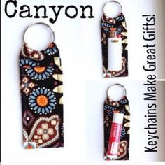 """Made in new Vera Bradley Print Chapstick Keychain Made in new Vera Bradley Print Chapstick Keychain Canyon Chapstick Keychain~Fits Mini Bic Lighters~and Flash Drives Size 4"""" x 1  1/2"""" Smoke Free Home Chapstick/Lighter NOT Included ✨Pattern placement varies✨ All Keychains are made with high quality material from a smoke free home 100% Vera Bradley Fabric Interface Metal Keyring Accessories Key & Card Holders"""