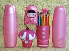 recycling plastic - crafts ideas - crafts for kids Reuse Plastic Bottles, Plastic Bottle Crafts, Recycled Bottles, Recycled Crafts, Diy Crafts, Diy For Kids, Crafts For Kids, Recycling, Shampoo Bottles