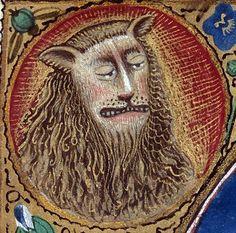 Lion face. Book of hours, Savoie 15th century (Clermont-Ferrand, Bibliothèque municipale, ms. 84, fol. 27r)
