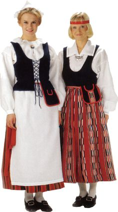 Puulavesi, naisen puku (oikealla). Kuva © Helmi Vuorelma Oy Folk Costume, Costumes, Dirndl Dress, Folk Clothing, Costume Patterns, Ethnic Dress, Traditional Dresses, Textile Design, Clothes For Women
