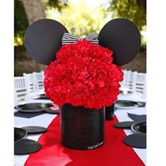 64 Best Ideas for party decorations red minnie mouse Mickey Minnie Centerpieces, Red Centerpieces, Birthday Party Centerpieces, Shower Centerpieces, Red Birthday Party, Mickey Mouse Birthday, Girl Birthday, Minnie Mouse Center Pieces, Kids Party Themes