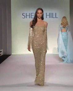 Sherri Hill Look Spring Summer 2020 Collection - Embellished Golden Slip Sheath Evening Maxi Dress / Evening Gown with Spaghetti Straps and Long Sle - Evening Dresses, Prom Dresses, Formal Dresses, Wedding Dresses, Evening Gowns Couture, Spring Fashion Outfits, Fashion Dresses, Couture Fashion, Runway Fashion