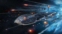 Galactica leading the survivors