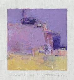 June 16, 2016 - Original Abstract Oil Painting - 9x9 painting (9 x 9 cm - app. 4 x 4 inch) with 8 x 10 inch mat by hiroshimatsumoto