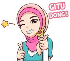 Hijab Kekinian – LINE stickers   LINE STORE Cartoon Jokes, Cartoon Art, Emoji People, Love Smiley, Preppy Stickers, Islamic Cartoon, Crochet Mask, Good Night Greetings, Hijab Cartoon