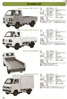 Suzuki Carry and 1976 Small Trucks, Mini Trucks, 4 Door Sports Cars, Pick Up 4x4, Suzuki Carry, Kei Car, Tokyo Motor Show, Japanese Domestic Market, Car Brochure