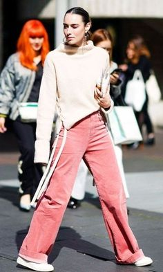Cool vibe! Take a pink pair one step further by pairing it with a sweater..