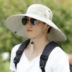Mens wide brim bucket hat for sun protection UV outdoor fishing hats