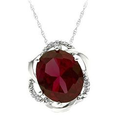 Bold Oval Cut Garnet Gemstone Diamond Sterling Silver Pendant Available Exclusively at Gemologica.com