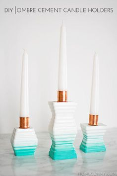DIY Candles : DIY Ombre Cement Candle Holders